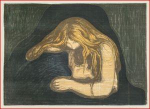 """Edvard Munch, """"Vampire II"""", Litografia, 1895-1902"""