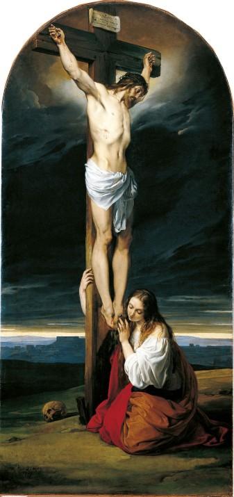 2001.056.001 Francesco Hayez Crocifisso con la Maddalena genuflessa e piangente