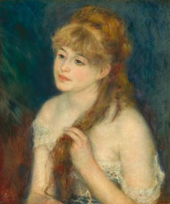 Giovane donna che si intreccia i capelli Renoir