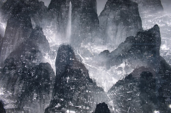 dettaglio dell'opera Sleepless Wonderland di Yang Yongliang, gallerie Paris-Beijing