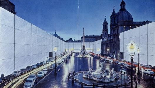 © Immagine per gentile concessione di PAC. Superstudio, Il Monumento Continuo , Piazza Navona, 1970. Courtesy Pinksummer