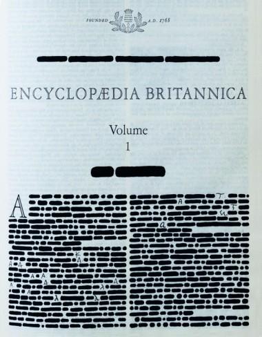 Emilio Isgrò - Encyclopedia Britannica - 1969 - indian ink on book in wood and plexiglass box; Installation; 24 elementi , 50x70x8,7 cm