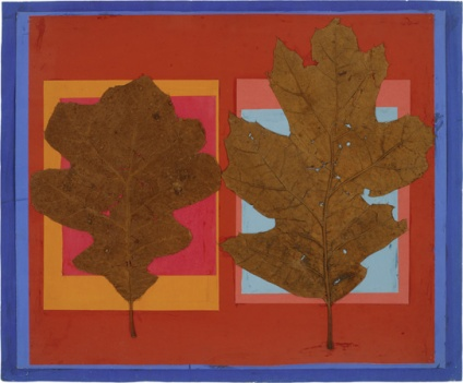 Josef Albers Leaf Study IV, ca. 1940, oak leaves, colored paper, adhesive