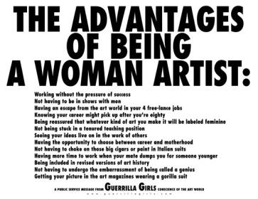 1. The Guerrilla Girls,Les avantages d'être une femme artiste, 2012, print & multiples, 46.0 x 55.6 cm. Photo Courtesy by Art Basel.