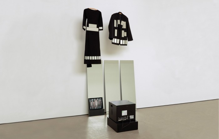 Joan Jonas, Mirror Pieces Installations, 1969, Mixed Media (Mirror performance film on DVD, mirrors, costumes), 360.0 × 172.0 × 146.0 cm. Photo Courtesy Galleria Raffaella Cortese.