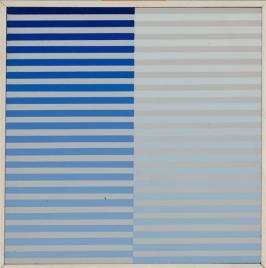 Dadamaino, La ricerca del colore, (uno dei 4 elementi presenti in asta), 1968, tempera su tela su cartone, 20x20 cm, cornice dell'artista