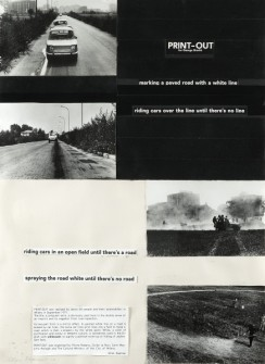 Allan Kaprow, Print out for George Brecht, 1974. Collage fotografico 77,5 x 62 cm. Firmata e datata in basso Allan Kaprow. 74.