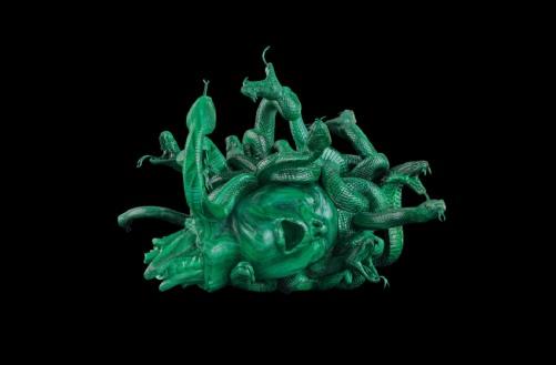 Mangione_Damien Hirst - The Severed Head of Medusa, Malachite, 38x49.6x52cm
